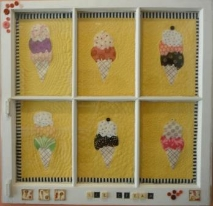 photo of 6 ice cream cones art quilt